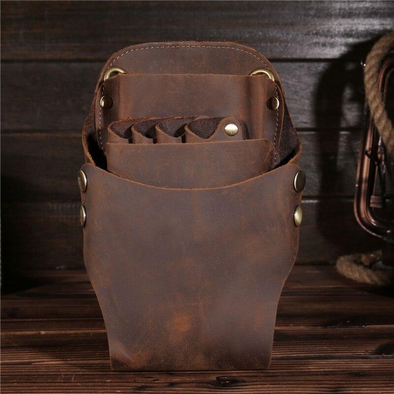 Neweekend Salon barbier boîte à outils en cuir véritable coiffure ciseaux sac ciseaux poches coiffure étui support de pochette outil    2