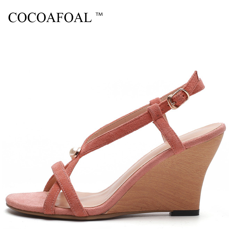 COCOAFOAL Women Wedge Sandals Cow Leather Lace Up Fashion Sexy Heel Height Shoes Buckle Black Pink Genuine Leather Sandals 2018 cocoafoal woamn patent leather sandals fashion heel height black white wedding shoes sexy genuine leather pointed toe sandals