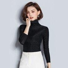 Turtleneck body Lurex Sexy tunic Women T Shirt Long Sleeve O Neck camiseta mujer Vogue Mesh Black Solid girls tee korean fashion недорого