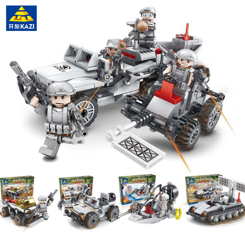 KAZI 393Pcs Semi-tracker D-23 Mine Clearance Vehicles Building Blocks Military Bricks Playmobil Toys for Children