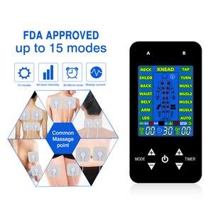 Image 2 - FDA TENS Unit elektroniczny masaż pulsacyjny 15 modeli 2 kanały LCD EMS masażer powrót szyi stres kulszowy ból i ulga mięśni