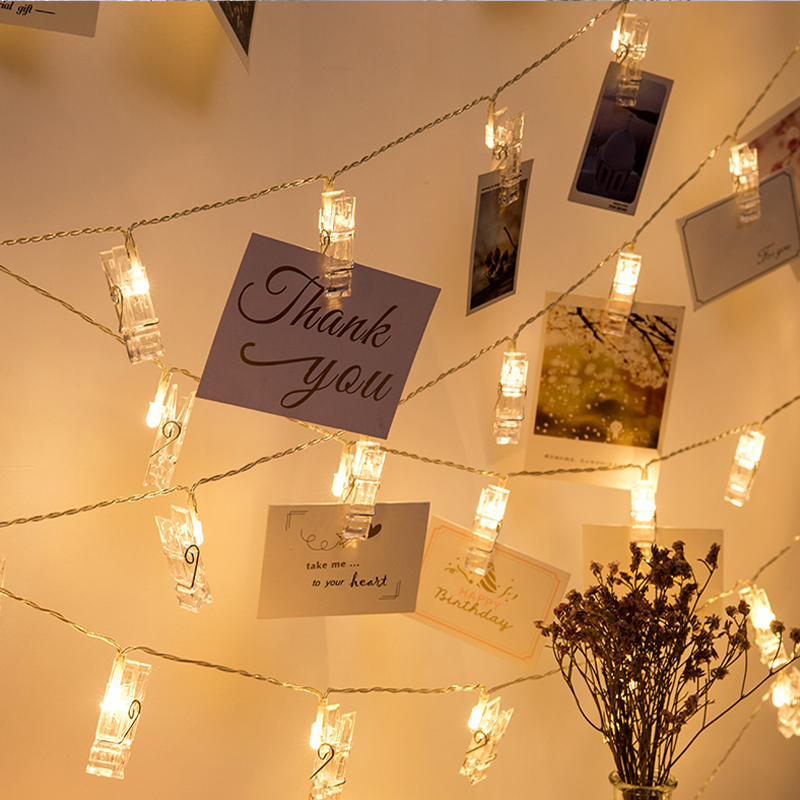 LYFS 2M/4M LED Photo Clip Light String Chain Flash Photo Wall Decoration For Birthday Valentine's Day Party Garland