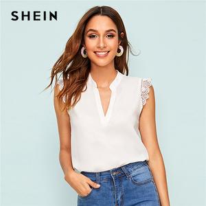 SHEIN V-Placket Lace Trim Shell Top 2019 Elegant V neck Stand Collar Summer Sleeveless Womens Tops and Blouses(China)