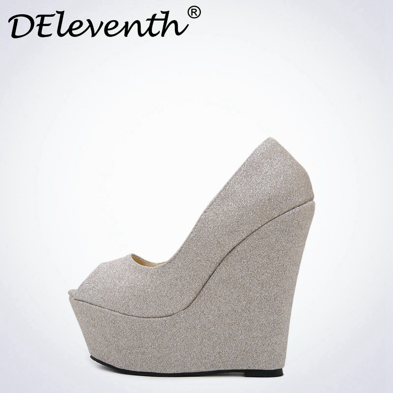 DEleventh 2017 New Spring Sequin Platform Wedges Pumps Women Fashion New High Heels Female Shallow Open Toe Shoes Gold Blue 2016 new women shoes spring womens platform genuine leather shoes pumps wedges female heels shoes sapatos femininos xj 056