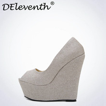 DEleventh 2017 New Spring Sequin Platform Wedges Pumps Women Fashion New High Heels Female Shallow Open Toe Shoes Gold Blue(China)