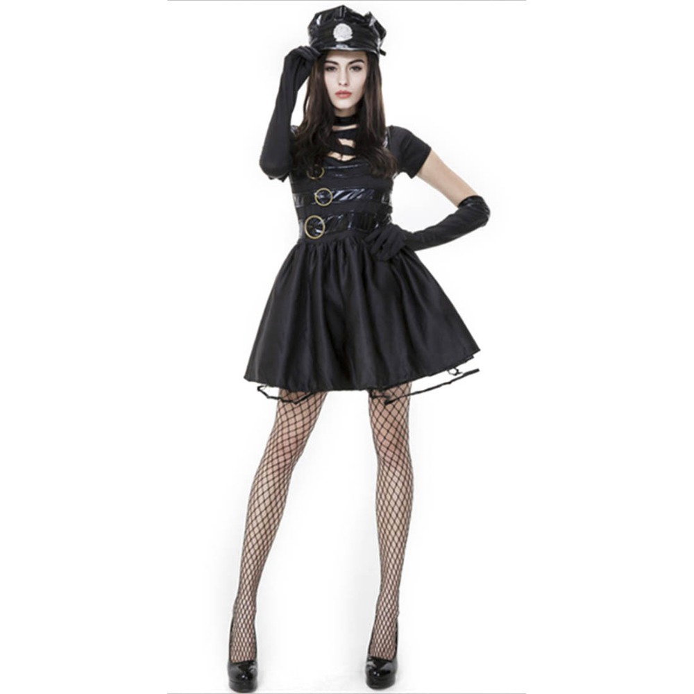 edward scissorhands costume black police officer costume sexy cool miss scissorhands cosplay adult women halloween costumes - Halloween Costumes Prices