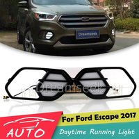 DRL For Ford Escape Kuga 2017 2018 LED Car Daytime Running Light Relay Waterproof Driving Fog Day Lamp Daylight