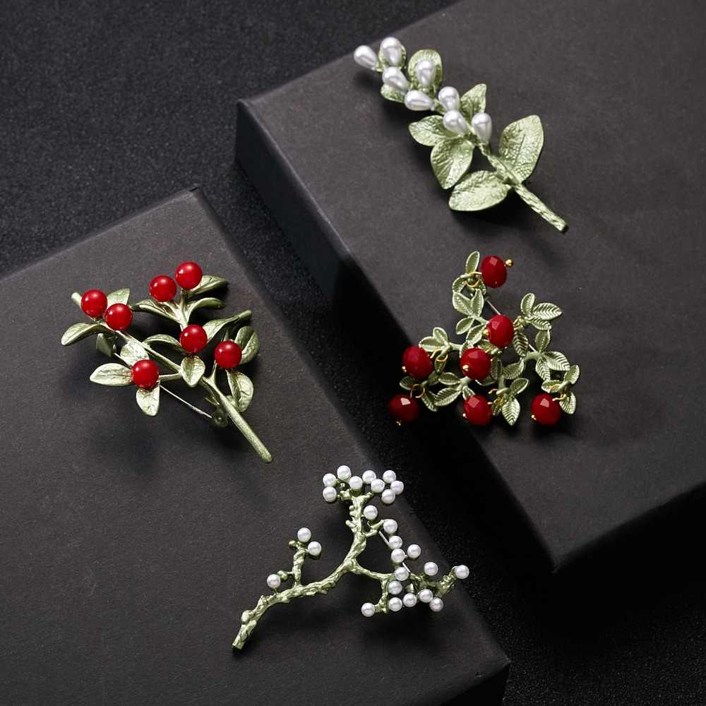 Rinhoo New Arrivals Brooch Carnation Plant Flower Vintage Green Brooch Bijouterie Corsage Dress Coat Accessories Jewelry Gift