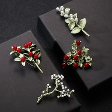 Rinhoo New Arrivals Brooch Carnation Plant Flower Vintage Green Brooch Bijouterie Corsage Dress Coat Accessories Jewelry Gift(China)