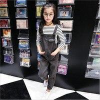 IIMADFWIW 2018 Dziewcząt Ubrania Jeansowe Spodnie Luźne Kombinezony Pajacyki Odzież dziecięca Moda Stałe Kowbojskie Spodnie 110-160