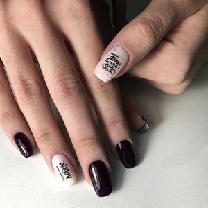 Image 4 - 1 sztuk 3D paznokci suwak czarny rosja naklejka w kształcie litery tekst napis klej Manicure porady paznokci dekoracje artystyczne