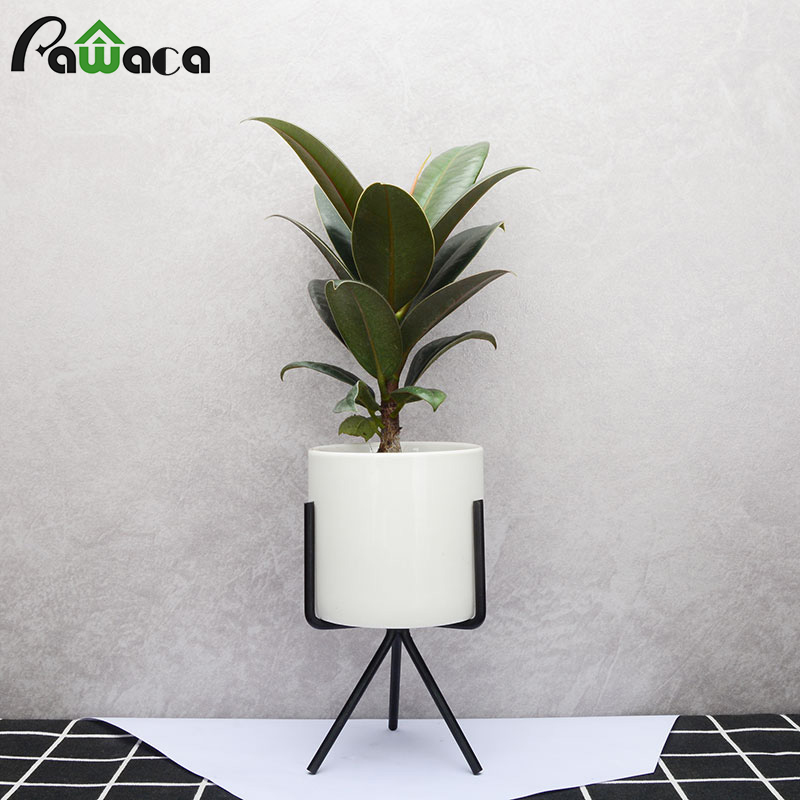 Nordic Style Flower Pot Rack Steel Metal Geometric Flower Stand Frame With Ceramic Planter Pot For Succulent Plants Home Decor