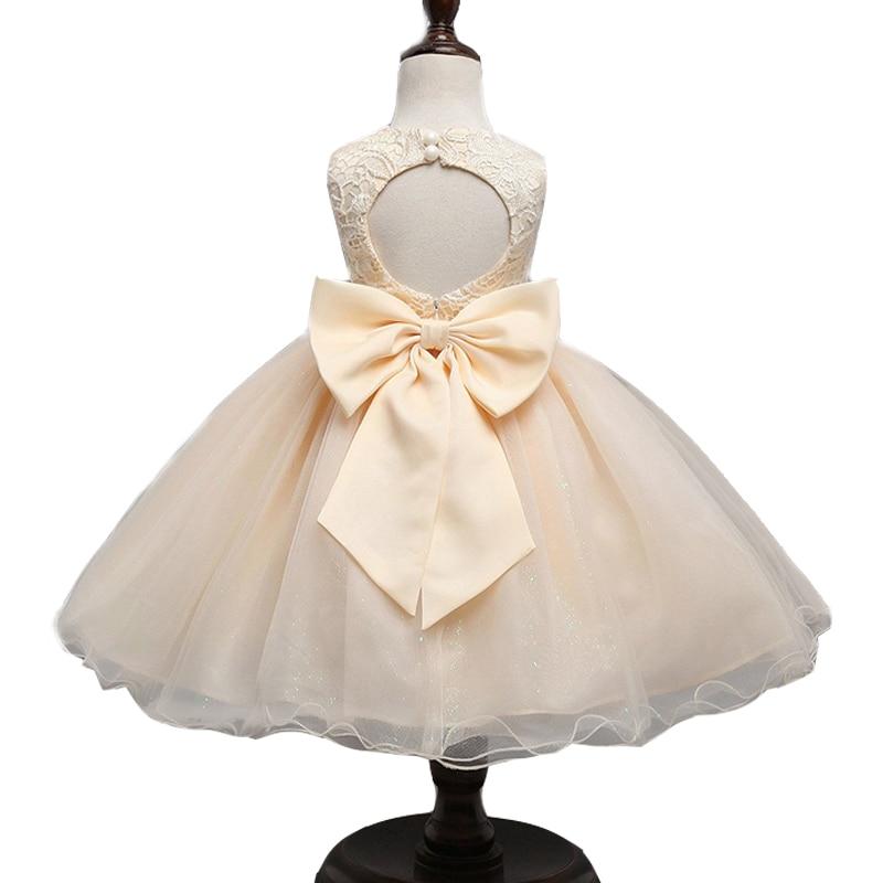 2017 girl dresses big bow embroidery flower wedding ball gown dress champagne elegant vestidos princesa vestido de nina