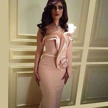 Rosa Blume Abendkleid Schulter Nixe-abschlussball 2016 Maß Long Sleeve Nahen Osten Formalen Kleid Vestido Longo