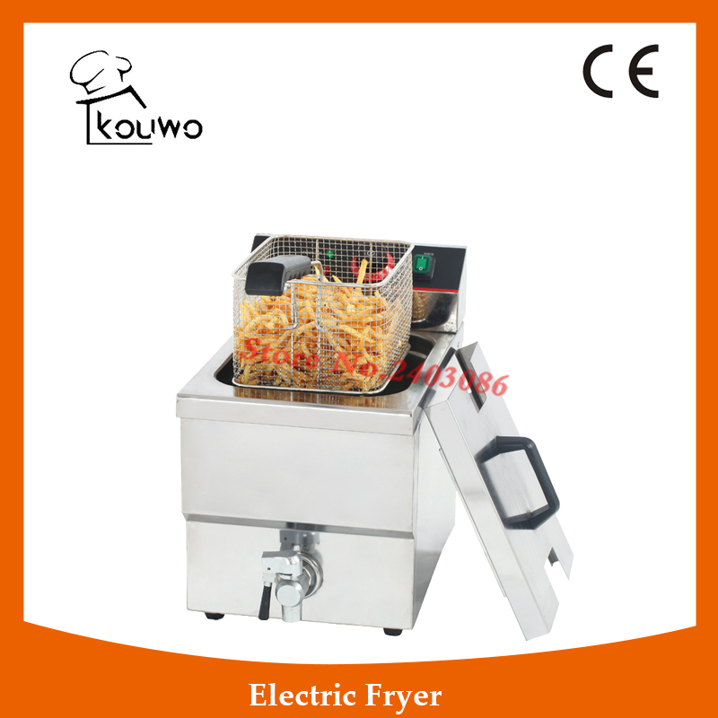 Stainless Steel table counter top food processing machine 12L electric single tank chicken potato chips deep Fryer with tap shipule fast food restaurant 30l commercial electric chicken deep fryer commercial potato chips deep fryer frying machine