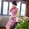 Impreso Floral Sexy Mini Vestido Tradicional de Las Mujeres Chinas de Satén Botón Cheongsam de La Vendimia de Manga Corta Qipao Sml XL XXL