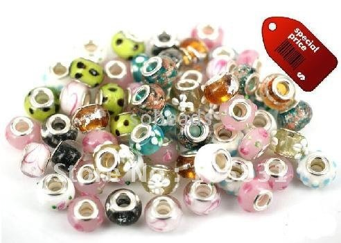 Free shipping! lampwork Murano Glass Beads European beads Big hole fit charm bracelet , mixed color