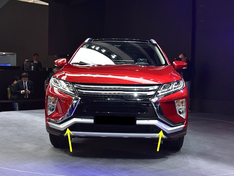 For Mitsubishi Eclipse Cross 2018 ABS Matte Front Bumper Skid Molding Cover Trim 2pcs Car Styling montford car styling abs matte internal gear panel cover trim for mitsubishi outlander 2016 2017 only for left handed driving