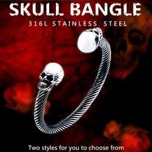 лучшая цена KLDY Punk Skull Bracelet For Men rock Stainless Steel love Bangle adjustable Man's charm bracelets male Jewelry wholesale price