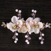 2018 New Arrival Pink Flowers Children Party Accessory For Head Hand-made Little Girls Headpiece For Wedding SQ301(China)