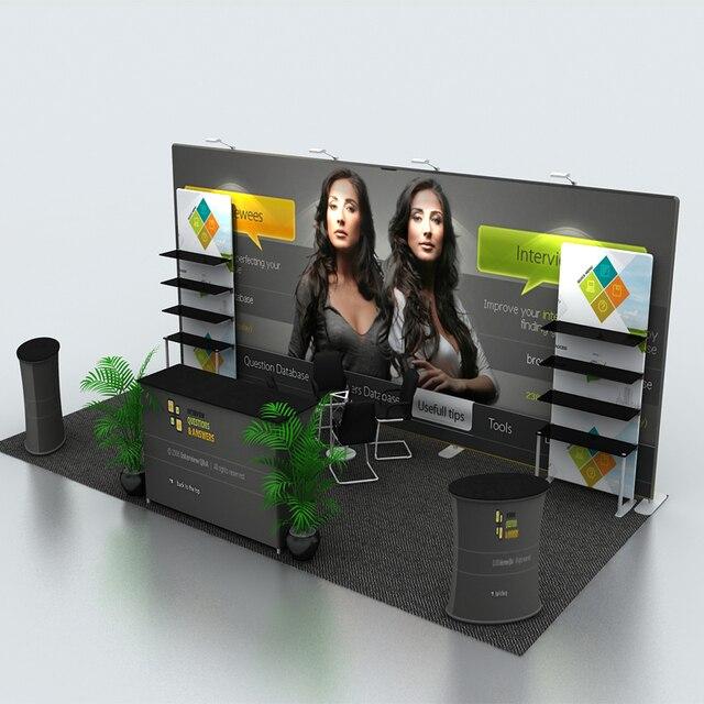 235684114dfac6 20ft spannstoff tragbare messe-display-stand system kits mit produkt regal  gegen scheinwerfer benutzerdefinierte