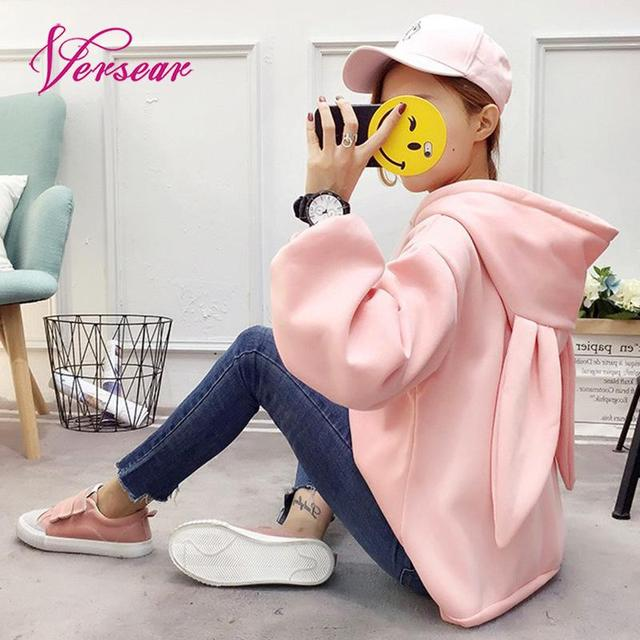 Versear Kawaii Korean Autumn Sweatshirt Tracksuit for Women Rabbit Ears Warm Embroidery Loose Pullover Moletom Pink Hoodies 2018