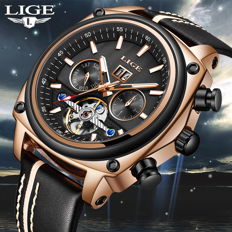 2018LIGE Luxury Skeleton Tourbillon Sport Mechanical Watch Men Automatic Rose Gold Leather Mechanical Wrist Watches Reloj Hombre