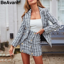 BeAvant Office ladies plaid blazer jacket Buttons double breasted tweed female b