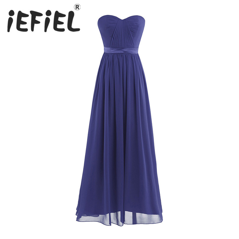 iEFiEL Elegant Women Adults Strapless Chiffon Dress Long Tulle Bridesmaid Ankle Length Dresses Prom Gown Princess Summer Dress