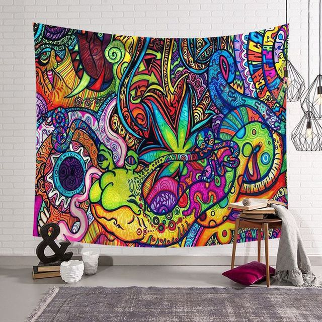 Polyster היפי המנדלה דפוס ציור מופשט אמנות תלוי על קיר גובלן שטיח בסלון תפאורה מלאכות