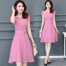 Summer Fashion Women O Neck Short Sleeve Solid Temperament A-word Type Chiffon Dress