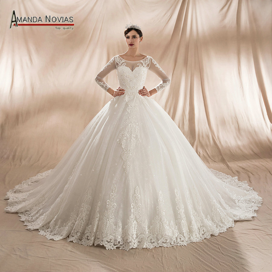 robe de mariee 2018 fashion wedding dress puffy ball gown long train bridal dress in wedding