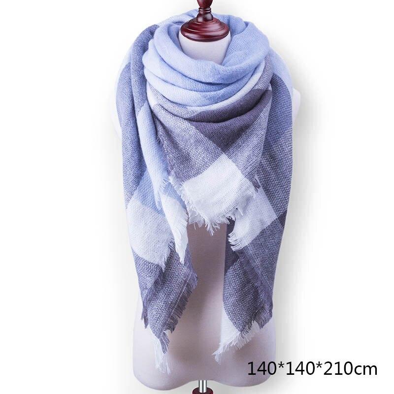 Горячая Распродажа, Модный зимний шарф, Женские повседневные шарфы, Дамское Клетчатое одеяло, кашемировый треугольный шарф,, Прямая поставка - Цвет: A18