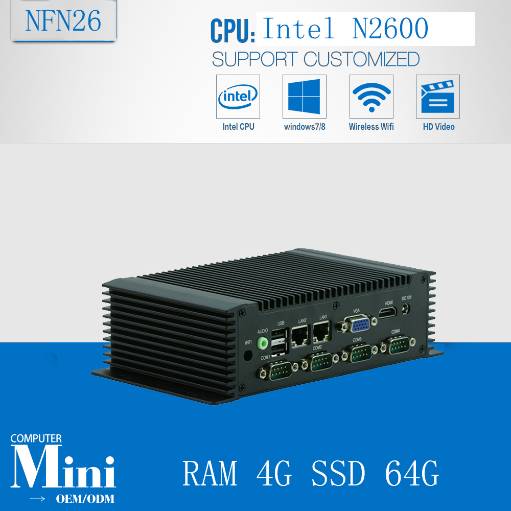 Industrial Computer Fanless Embedded With CPU N2600 1.6Ghz 6 COM/ 4 USB/ 2 LAN 3.5inch Fanless Mini PC RAM 4G SSD 64G