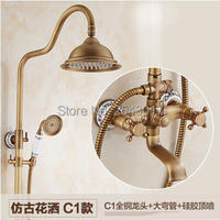 Free Shipping 8 Rainfall Shower Set Wall Mounted Bathroom Shower Head Top Antique Retro Style Ceramic