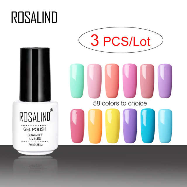 ROSALIND 3PCS/Lot gel nail polish for the nails Pure Color Series White Bottle gel varnish UV&LED Soak-Off Gel lacquer
