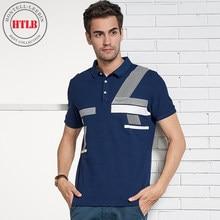 HTLB Homens Verão Novo Business Casual Impressão Camisas Pólo Homens marca  Novo Padrão de Moda 100% Camisas Pólo de Algodão Puro. 0116c57d25d43