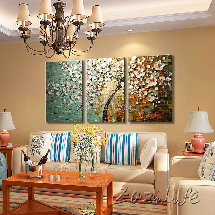 Aliexpress.com : Buy 3 Piece Hand Painted Flower Tree Cuadros Oil Painting  Wall Art Canvas Picture Modern Abstract Home Decor Living Room Knife Set  From ...