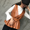 women 2 pieces set pu leather vest sleeveless tops belt + knitted shirt gilet cuir femme chalecos de pelo colete feminino