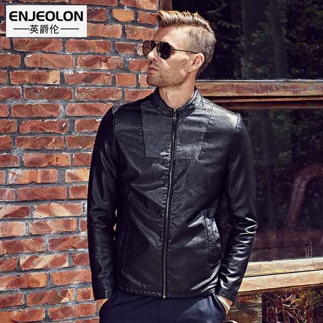 Enjeolon Новый Бренд Кожаные Мотоциклетные Куртки из искусственной кожи для мужчин, тонкий черный модная одежда, молния манжеты стенд воротник мужской повседневное пальто P251