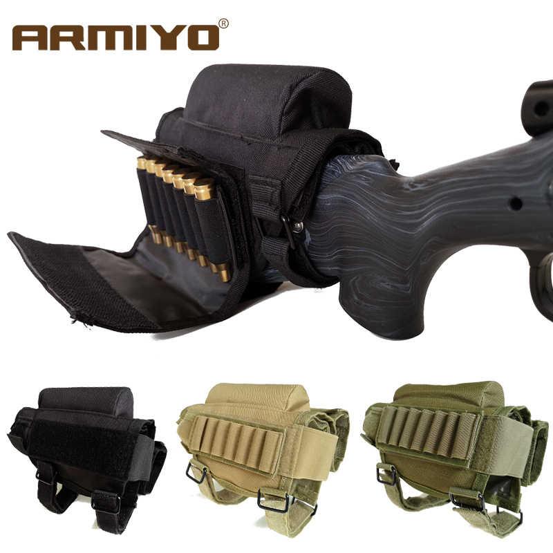 Armiyo Ajustável Ao Ar Livre Tático Bolsa Titular Bala Bumbum Estoque Rifle Cheek Resto Riser Pad Cartuchos de Munição Saco Coldre de Nylon