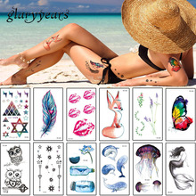 glaryyears 10 Pieces/set 10.5*6cm Temporary Tattoo Sticker Beauty Body Art Waterproof Halloween Water Transfer RC Tattoo Cute