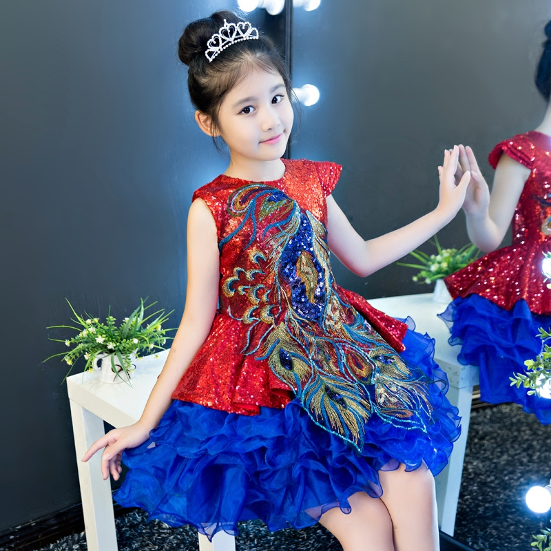 2017New Children Girls Chinese Style Embroidery Patterns Sequined Design Ball Gown Dress Kids Birthday Dancing Tutu O-Neck Dress korean style different flowers and plant of 50 chinese embroidery handmade art design book