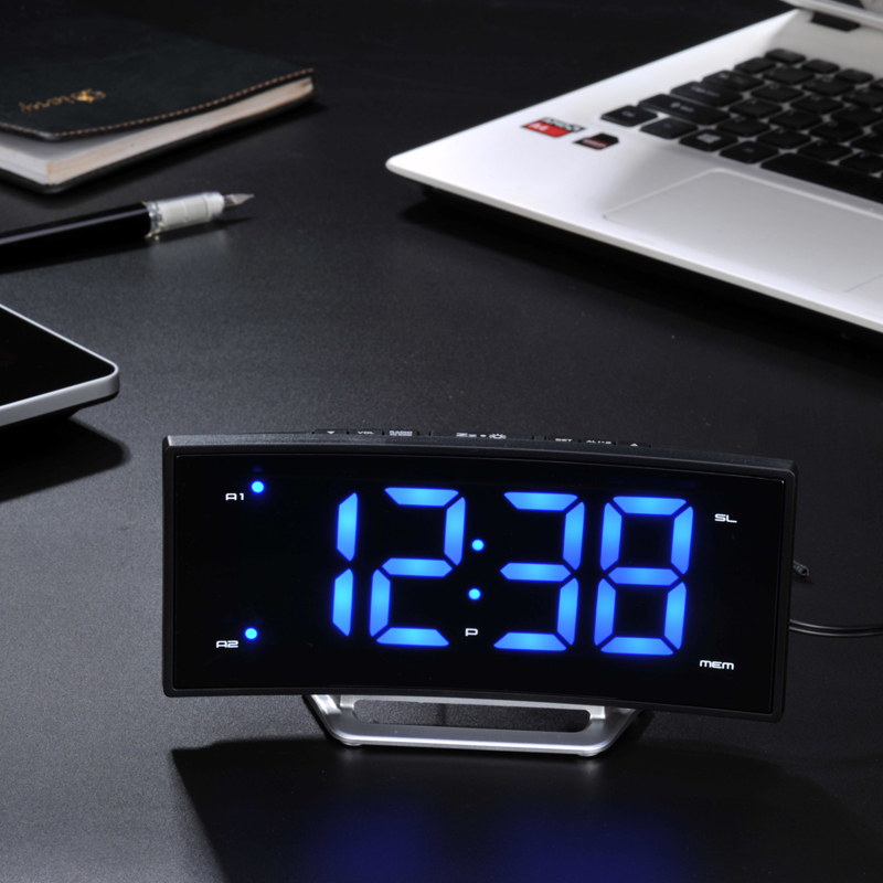 Modern LED Radio Alarm Clock Luminous Arc Bedside Snooze Function with Backlight Table Clock Charging Display Home Decoration