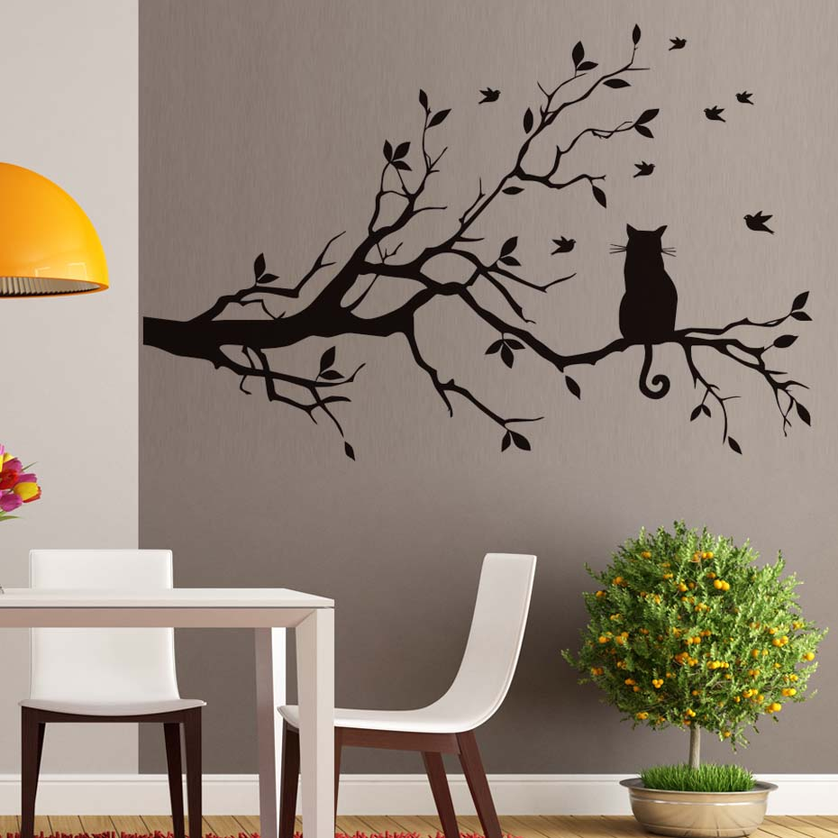Little Cat on the Tree with Birds Sticker Wall Art Large Home Decorative Decal for Living Room kids Bedroom Mural Wallpaper-in Wall Stickers from Home & Garden