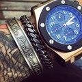 Новая Мода Марка Дизайнер Титана Из Нержавеющей Стали 316L Классический Витой Ретро браслет-Манжета Браслет для Человека Ювелирные Изделия Выгравированы