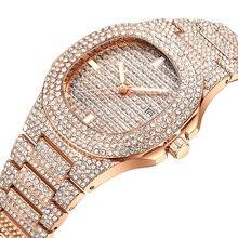 Women Watches Top Brand Luxury Quartz Full Diamond Stainless Steel Rose Gold Fashion Ladies Wrist Waterproof Date Clock