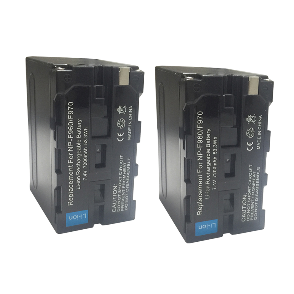 2Pcs Real 7200mAh NP-F970 NP F970 F770 F570 F930 Battery for SONY MC1500C 190P 198P F950 MC1000C HD1000C V1C Z5C Z7C PD198P np f960 f970 6600mah battery for np f930 f950 f330 f550 f570 f750 f770 sony camera