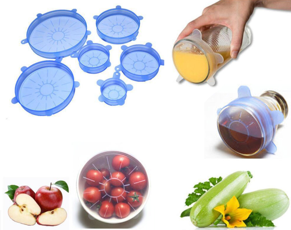 6 Pcs Silicone Reusable Food Fresh Keeping Sealing Stretch Lid Container Cover Kitchen Pan Spill Lid Stopper Cover (2)
