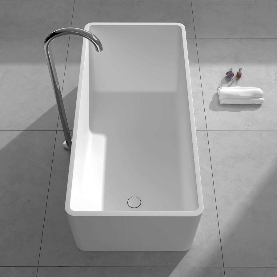 1500mm Solid Surface Stone CUPC Approval Bathtub Rectangular Freestanding Corian Matt Or Glossy Finishing Tub RS6587